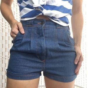 "Vintage 70s High Waist Jean Shorts 25"" Waist Fab!"